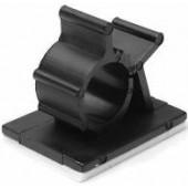 Clips Serre Câble en nylon noir base adhésive set de 10 pièces