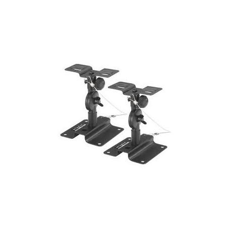 Support mural en métal noir robuste et orientable pour enceinte Monacor LST-6