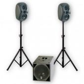 PACK SONO AMPLIFIÉ   CAISSON SATELLITES PIEDS  LOUDER 500 - VOICE SYSTEMS