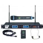 Micro UHF sans fil Pack Micro Main + serre-tête/cravate et Récepteur 19p
