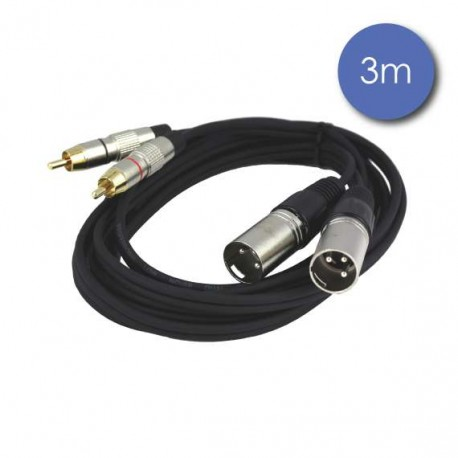 Câble Cordon 3 m 2 x XLR mâle / 2 x RCA mâle