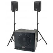 Pack Sono Amplifié caisson basse et deux satellites Audio Désign Pro